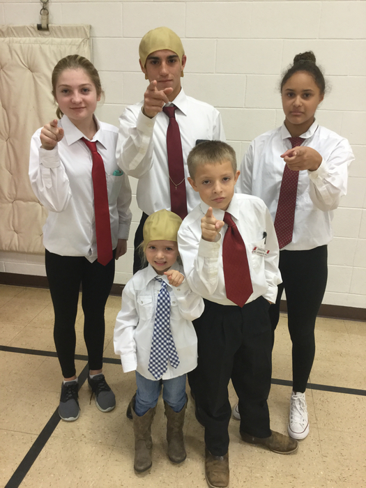 Students dressed as our principal for homecoming