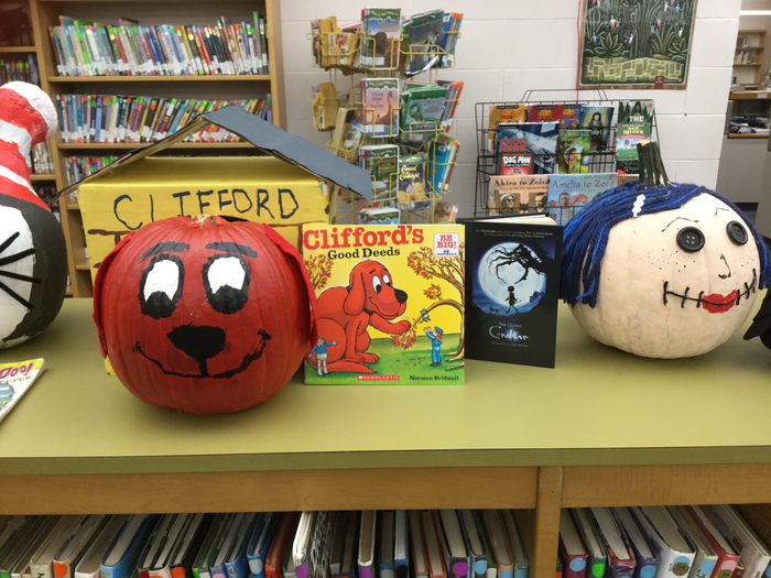 Decorated pumpkins for the library pumpkin decorating contest