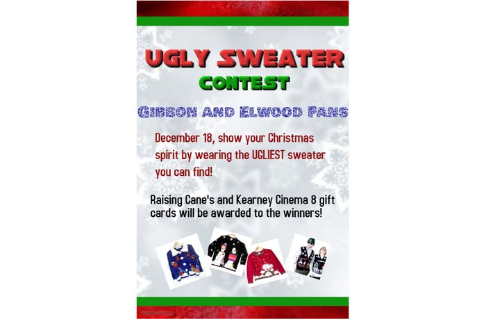 Ugly sweater contest at the Gibbon basketball games December 18