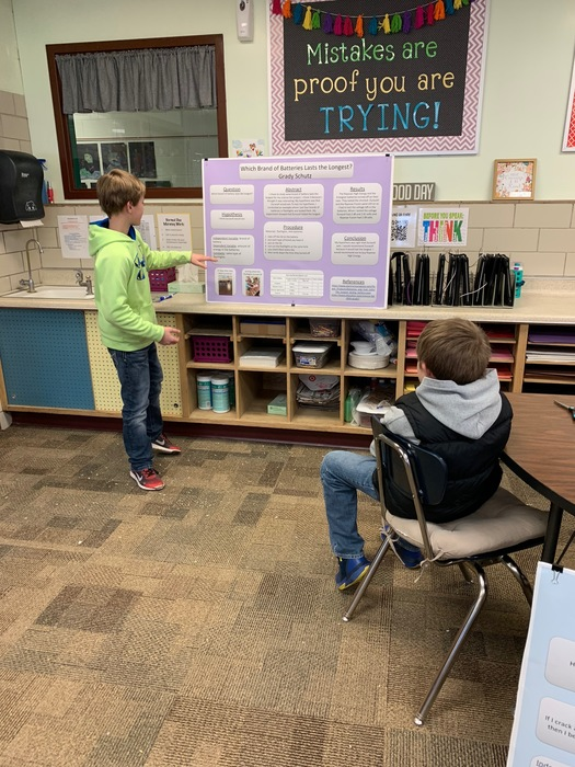 Practicing science fair presentations!