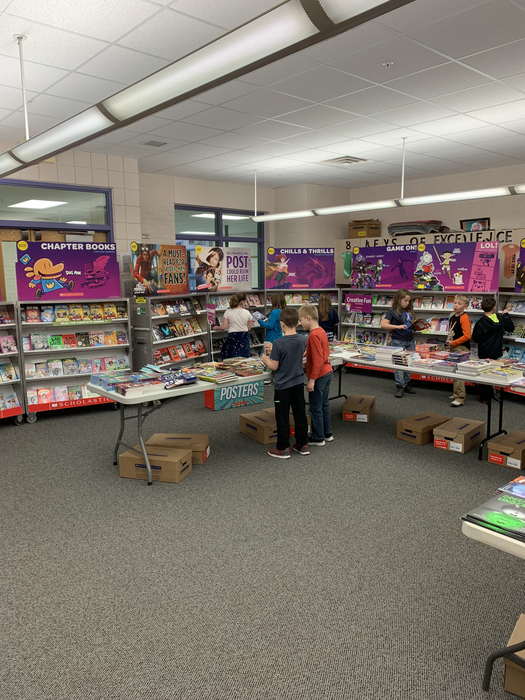 Second Grade checking out the Book Fair
