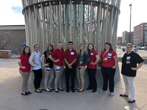 FCCLA SLC attendees from (left to right ) Marissa McClung, Kaydee Diefenbaugh, Zayley Christner, Kennedy Brell, Timmy Smith, Hadley Martin, Carina Atterberry, Brooke Brockman, Matteya Gutierrez