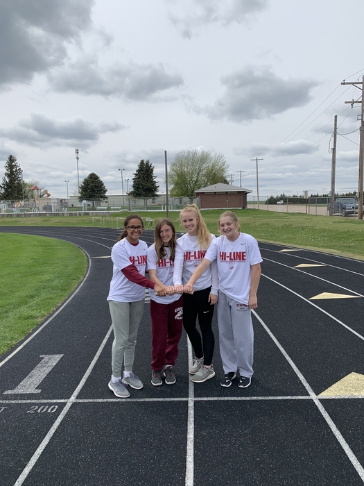 The Hi-Line girls 4x1 really team. They are ranked 10th out of 16 teams going into tomorrow in the entire state. They have not lost a 4x1 race yet this season