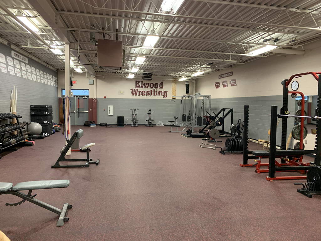 New flooring in weight room. Some equipment is in and more is on the way.