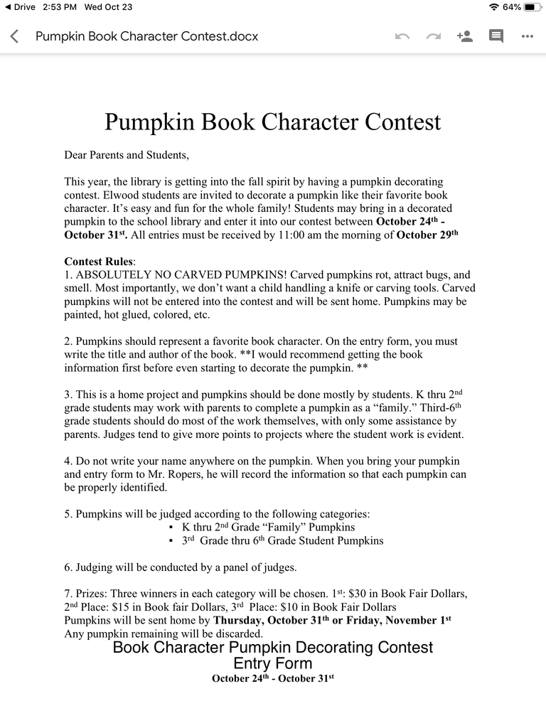 Info for pumpkin contest