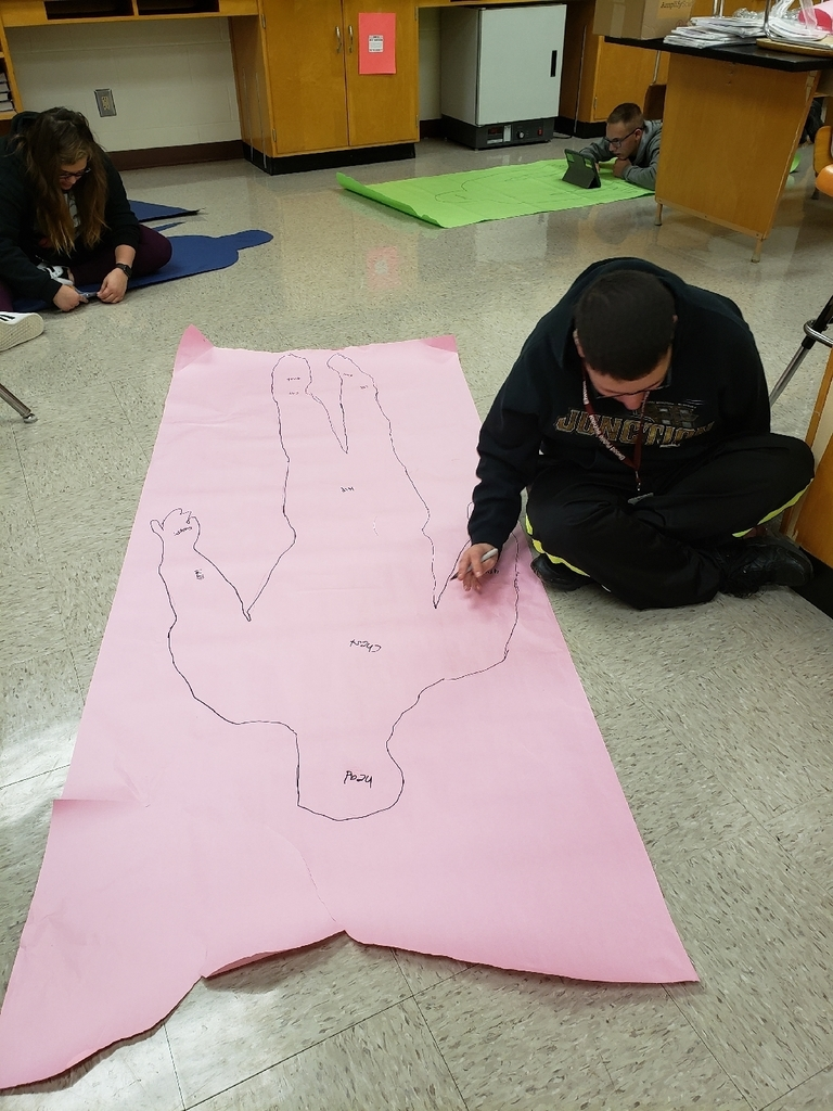 Labeling the parts of his body.