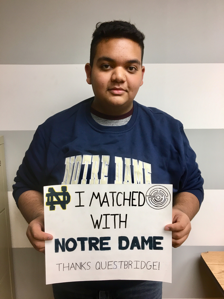 Congratulations to Juan Flores! He received a full ride to Notre Dame through the Questbridge scholarship.