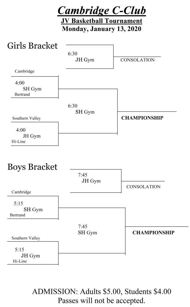 Cambridge JV Basketball Tourney Bracket