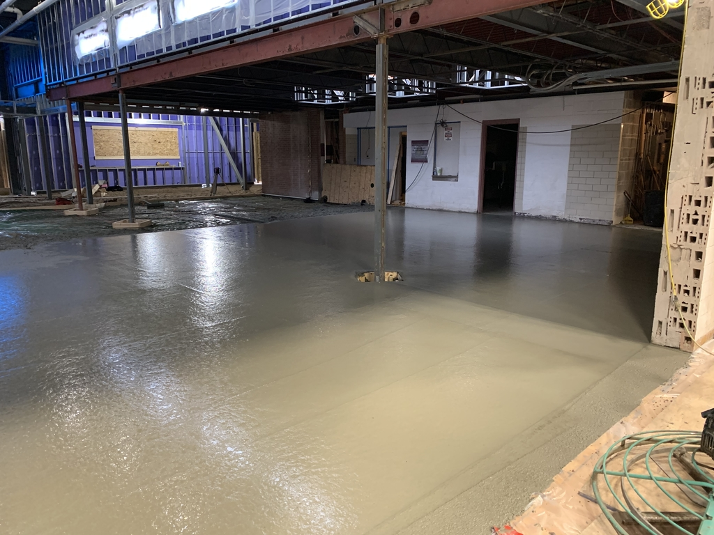Flooring being poured. Progress so far.