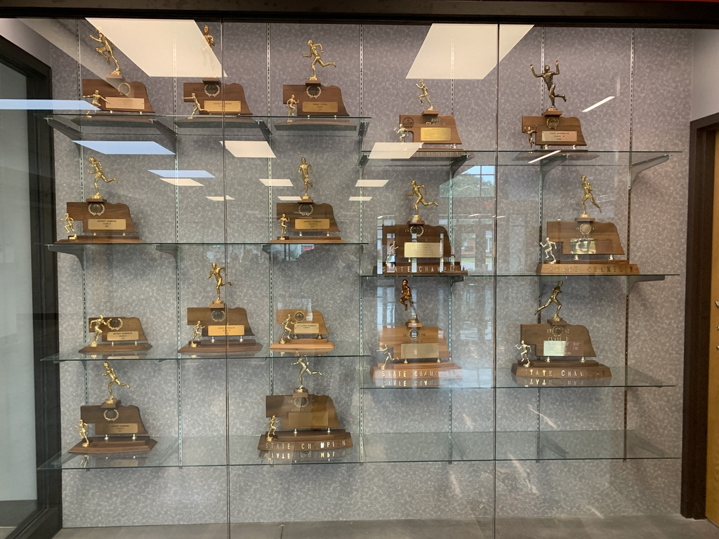 Trophies in new trophy case.